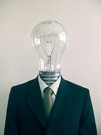 man with bulb head